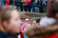 There He is! Wally/Waldo at the Boxing Day Dip (BeerAndLoathing) Tags: 2018 december folkestone englandtrip england winter uktrip people canon kent sea beach winter2018 canoneos77d 77d events crowds trip boxingday seafront cold uk sigma18300mm