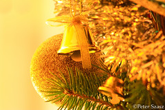 Decoration (Peter Szasz) Tags: christmas decoration december holiday colourful yellow light bright upclose tree pine branch green bell orb canon celebration festivity leaves longexposure silver merry brown canon80d 80d