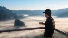 Morning coffee (KORAWEE_GENESIS) Tags: activity adventure altitude backpack beautiful boy cliff coffee enjoying fog freedom happy hiker hiking hill horizon journey landscape man morning mountain mountains nature outdoor peak relaxation rest rock sky standing success sun sunlight sunrise tea top tourist travel trekking valley view young pong phayao thailand th