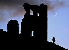 I Saw The Crescent... (Edinburgh Photography) Tags: outdoors landscape moonlight man hill walking st anthonys chapel arthurs seat nikon d7000
