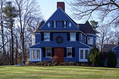 Pretty Blue Home (c. mcgraw OFF and ON) Tags: blue home christmas wreath concord ma trees grass