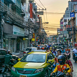 Rush Hour in Bangkok with beautiful Sky in the Background thumbnail