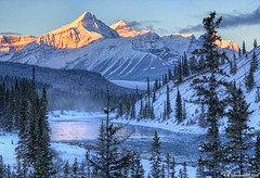 Saskatchewan River Crossing at Sunrise, Banff National Park Canada (PhotosToArtByMike) Tags: saskatchewanrivercrossing northsaskatchewanriver banffnationalpark sunrise saskatchewanriver icefieldsparkway canadianrockies banff albertacanada canadianicefieldsparkway mountain mountains alberta
