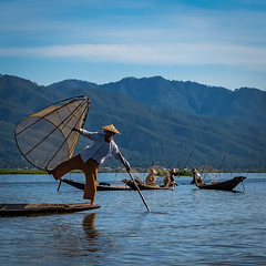 Fishermen Lake Inle (bransch.photography) Tags: burma tradition floating landscape asia skill nature fish balance myanmar lake water village traditional culture famous sightseeing tourist fishing tourism inlelake rural scenic onelegged inle boat panoramic southeastasia countryside fisherman