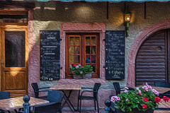 French Village Cafe (nukkenfutz) Tags: architecture bench cafe cafeteria chair colorimage design door doorway entrance fireplace flower foodcourt french furniture horizontal menu nopeople plant pottedplant table village window wood