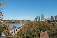 Browns Island & RVA Cityscape (rachelkidwell93) Tags: wide landscape nature high view perspective sky far blue clouds sun hike hiking trail bridge architecture history historical old forest trees tree fall autumn seasons water river running city urban street james virginia richmond rva building skyscraper cityscape horizon travel adventure new people explore outside outdoors