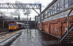 Anachronism (whosoever2) Tags: uk united kingdom gb great britain england sony dscrx100m3 train railway railroad march 2019 stockport signal box gbrf class66 66767 6j56 peakforest cemex hopestreet wet rain