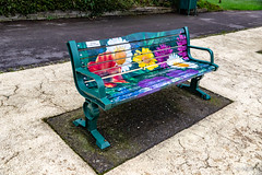 Photo of Doris on a park bench