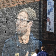 KLOPP (garydavidworthington) Tags: klopp liverpool graffiti wall photography people football art artistic giant lfc baltic stone ynwa black colour glasses man manager brick nikonb700