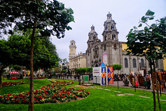 Cathedral in Lima, Peru (` Toshio ') Tags: toshio lima peru miraflores kennedypark southamerica church cathedral garden artists people fujixt2 xt2