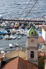 """""""Make voyages. Attempt them. There's nothing else."""" ― Tennessee Williams (gcarmilla) Tags: porto barche boats sea sorrento campania italy italia campanile verde belltower"""