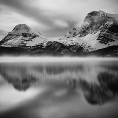 Crowfoot Mountain (Mabry Campbell) Tags: alberta banff banffnationalpark bowlake canada h5d hasselblad blackandwhite fog foggy image lake landscape longexposure monochrome mountain photo reflection squarecrop water f18 mabrycampbell october 2018 october52018 20181005banffcampbellb0002638 80mm 200sec 100 hc80