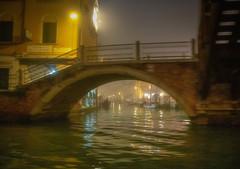 Fog, Mist, Blur in Venice (photofitzp) Tags: water fog mist night venice canal light bridge taxi ta3i