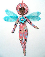 Fairy (JuliaPeculiart) Tags: fairy wings winged paper doll paperdoll jointed articulated juliapeculiar handmade papercrafts puppet fairies fae faery faerie sprite