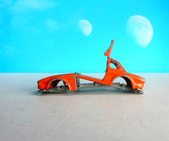 Matchbox SuperFast Toys No. 45 BMW 5.0 CSL 1976 Broken Up For Art Piece : Diorama Futuristic Double Moon - 6 Of 6 (Kelvin64) Tags: matchbox superfast toys no 45 bmw 50 csl 1976 broken up for art piece diorama futuristic double moon
