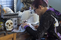 Day 4423 (evaxebra) Tags: hobby sewing machine skull blackmilk slouchy disney glasses sew craft crafting leggings wh wah