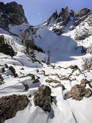Glacier Gorge - Emerald Lake (Bernie Duhamel) Tags: glaciergorge flattopmountain hallettpeak tyndallglacier emeraldlake estespark rockymountains rockymountainnationalpark greatphotographers teamsony frontrange winter snow snowy bernie duhamel sonya7riii sony2470mm