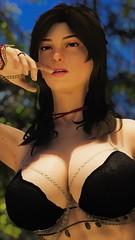 Mika - Suggestive Ponder (DiamondbackVIII) Tags: mika black eyes and hair elder scrolls v skyrim bdo hillat bra breasts