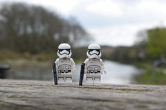 Canal Patrol (Working hard for high quality and good work.) Tags: wars star lego stormtrooper order first water wood trees background nature