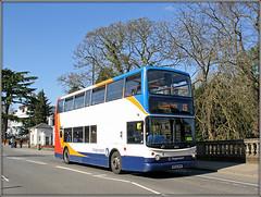 18323, Leamington Spa (Jason 87030) Tags: 18323 dennis trident alx400 bus doubledecker avon leam cosmetics red white blue orange 15 canon eos transport sunny weather scene uk wheels