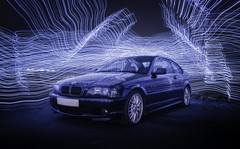 Black & Blue (Rob Pitt) Tags: lightpainting light trails bmw night reflections darkness canon 1740 sony a7rii wirral west kirby