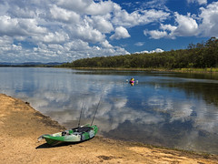 Lake Samsonvale (bidkev1 and son (see profile)) Tags: kyak fishing landscape lake summer sun blue sky sport recreation hobby water clouds