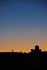 Florentine Moon (jeangrgoire_marin) Tags: moon twilight sunset rooftops sky lookingup afar crescent goldenhour cityscape