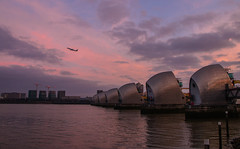 The Barrier (2 of 5) (selvagedavid38) Tags: thamesbarrier river tide dam areoplane aircraft sunrise dawn reflection metallic water airplane sky cloud london pink airport flood city