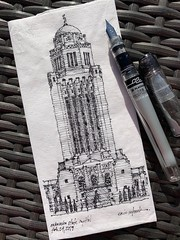 Nebraska State Capitol (schunky_monkey) Tags: fountainpen penandink ink pen drawing draw sketching sketch napkin illustration art building architecture tower deco artdeco tall skyscraper government capitolbuilding capitol statecapitol nebraska