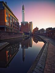 Birmingham Canal Reflection (seantindale) Tags: birminghm bttower canal waterrefection reflection winter sunshine sunset england uk olympus omd em10markii laowa75 wideangle city