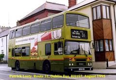 Route 31, Lower Abbey Street to Howth, (St. Mary's Place), Dublin Bus, RH157 August 1995 (Shamrock 105) Tags: dublin dublinbus busathacliath leyland leylandolympian clontarfgarage howth route31 alexander heinz heinztomatoketchup stmarysplace
