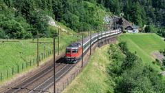 SBB Re 4'4 2 11125 Top Level, Wassen 09 July 2015 (1) (BaggieWeave) Tags: switzerland swiss swisstrains swissrailways gotthardrailway gotthard gotthardbahn wassen uri re44 re66 sbb cff ffs