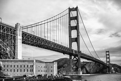 Close Enough But Not Too Far (Thomas Hawk) Tags: america bayarea california fortpoint goldengatebridge sf sfbayarea sanfrancisco usa unitedstates unitedstatesofamerica westcoast bridge bw us fav10 fav25 fav50 fav100
