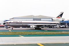 N805DE 1 McDonnell Douglas MD-11 Delta Air Lines LAX 05MAR94 (Ken Fielding) Tags: n805de mcdonnelldouglas md11 deltaairlines aircraft airplane airliner jet jetliner trijet widebody