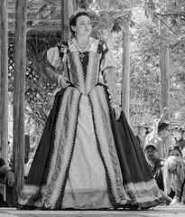 Queen Elizabeth (clarkcg photography) Tags: queen elizabeth queenelizabeth 1600 perioddress renaissance blackandwhite blackwhite bw candid