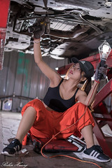 DSC_2147 (Robin Huang 35) Tags: 張淳艾 波比 poppy 修車廠 修車服 工作服 人像 portrait lady girl nikon d850 car 車
