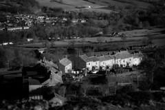 Looking down (tonguedevil) Tags: landscape outdoor outside view countryside hills hillside homes cottages trees fields hamlet village winter bw hillend frosterley weardale