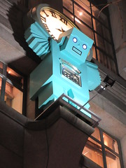 Blue Robot Atlas Holding Up Clock above Tiffanys 8997 (Brechtbug) Tags: blue robot atlas holding up clock above tiffanys entrance way gargoyle statue new york city 01012019 atlantids atlantid jewelry store 5th avenue near 57th street nyc east side manhattan midtown sculpture 2019 zodiac belt fig leaf tiffany christmas decor decorations exterior facade festive