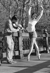 Music and dance (steveedreff) Tags: pointeshoes pointe japanesegirl japanesewoman asain japanese girl beautiful woman outdoors blackandwhite dance dancer musician music violinist violin ballerina ballet