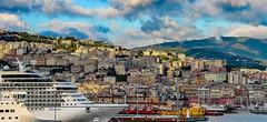 Genova, Harbour front (werner boehm *) Tags: wernerboehm genova genua italy architecture hafen schiff berg mountains
