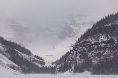 Snowy Day on Lake Louise (Lee Rosenbaum) Tags: banffnationalpark landscape winter snow alberta mountains clouds canada glacier lakelouise lake mountain