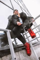 MERIT-2150144 (qauqe) Tags: tartu estonia model female girl woman beanie chick fashion ootd leica timberland footwear red urban streetwear furcoat fur jacket smile laughter winter