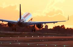 Vueling landing at lebl with sunset golden light (vic_206) Tags: bcn lebl sunset sun light vueling airbusa320214