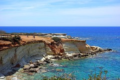 sea view (majka44) Tags: blue cyprus sea travel people lagoon nature landscape coast tree beach stone azure colors road walk