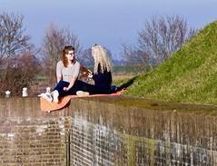 Genieten van de lente zon ! (Franc Le Blanc .) Tags: people sit sitting seated women talking heusden spring lente