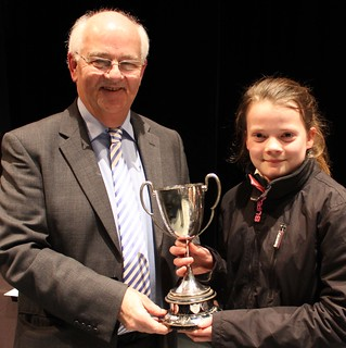 Isabel receives the cup for best March in the 3rd section