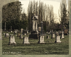 031919 Old Family Plot (wildcatlou) Tags: march outdoors old 52frames tumwater cemetery evening graveyard gravemarkers memorial mono trees