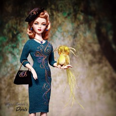 Fwoop 💚 (pure_embers) Tags: pure embers doll dolls uk pureembers photography laura england gene marshall hibiscus stepping high embersdoris doris portrait 40s 50s style classic elegant fashion melodom collector vintage rockabilly pinup francescadollcouture knit dress fwooper magical bird cute