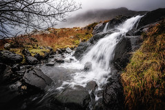 Rain or shine ... (Einir Wyn Leigh) Tags: landscape water river snowdonia wales outside nikon weather rain waterfall foliage rugged rocks colorful contrast