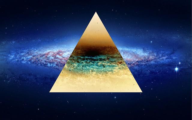 Обои треугольник, фон, точки, свет картинки на рабочий стол, фото скачать бесплатно